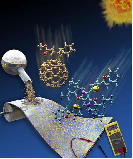 Solution-processed and flexible organic solar  cell fabricated from a blend of fullerene and  organic semiconductor.